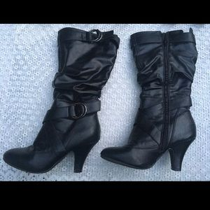 Black Faux Leather Boot Heels